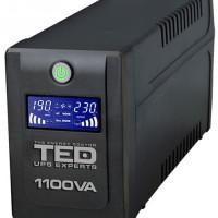 UPS TED Electric 1100VA / 600W cu 4 iesiri schuko si display LCD TED-1100