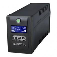 UPS TED Electric 1300VA / 750W cu 4 iesiri schuko si display LCD TED-1300