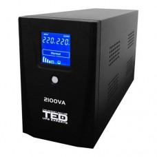 UPS TED Electric 2100VA / 1200W cu 2 iesiri schuko si display LCD TED-2100