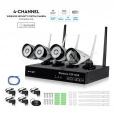 Sistem de supraveghere HD cu 4 camere, kit complet NVR, wi-fi, IP65